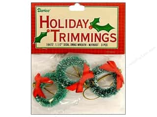 "Darice Holiday Decor Ornament 1.5"" Sisal Wreath Frost 3pc"