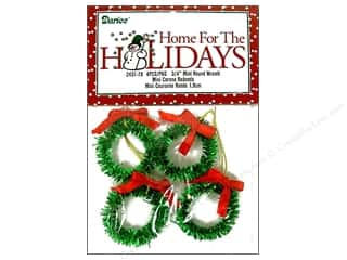 "Darice Holiday Decor Ornm Wreath .75"" Bow Red 4pc"