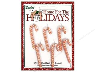 "Darice Holiday Decr Ornm Candy Cane 2"" Rd/Wht 6pc"