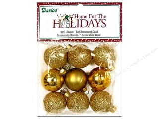Holiday Sale Paper Mache Ornaments: Darice Ball Ornaments 1 3/16 in. Assorted Gold 9 pc.