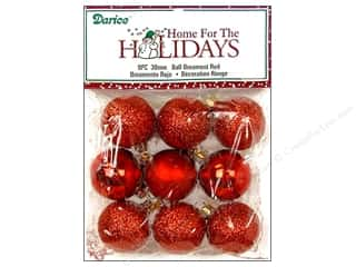 Darice Holiday Decor Ornament Ball 30mm Red Multi 9pc