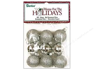 Darice Holiday Decor Ornament Ball 30mm Silver Multi 9pc