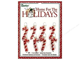 Darice Holiday Decor Ornm Candy Cane 1.1&quot; Met 8pc