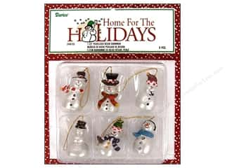 "Darice Holiday Decor Ornament Snowman 1.25"" Pearl 6pc"