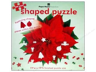 Paper House Shaped Puzzle Red Poinsettia