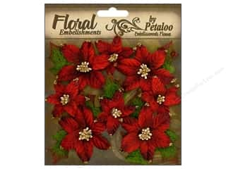 Petaloo Chantilly Poinsettias Red 8pc