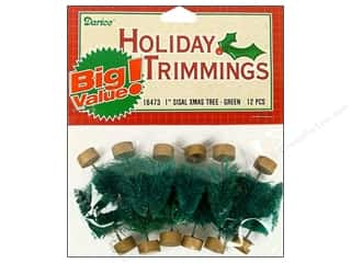 Darice Sisal Tree 1 in. Green Christmas 12 pc.