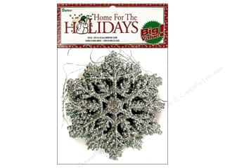 Darice Holiday Decor Snowflake 4&quot; Gltr Sivr 12pc