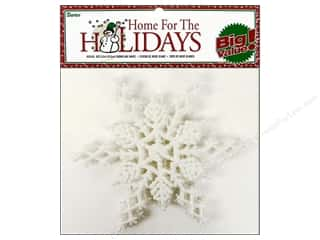 Ornaments: Darice Snowflake 6 1/2 in. Glitter 6 pc. White