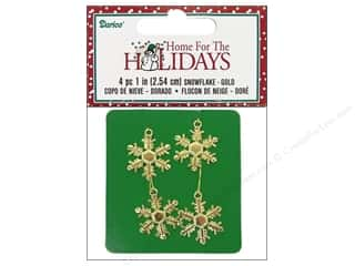Darice Holiday Decor Snowflake 1&quot; Gold 4pc