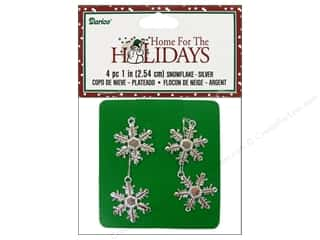 "Darice Holiday Decor Snowflake 1"" Silver 4pc"