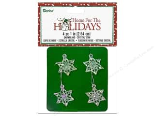 Darice Holiday Decor Snowflake 1&quot; Crystal Str 4pc