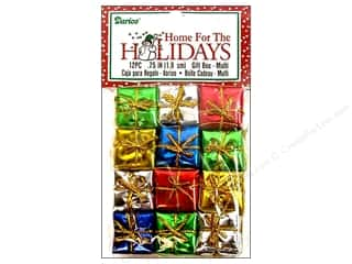 "Darice Holiday Decor Gift Box .75"" Multi 12pc"
