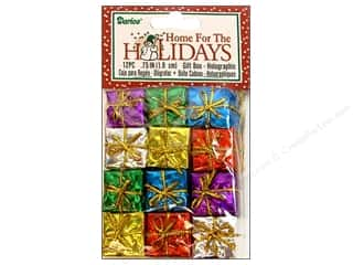 "Darice Holiday Decor Gift Box .75"" Holo Mult 12pc"