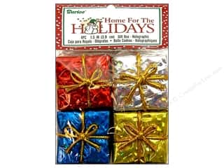 "Darice Holiday Decor Gift Box 1.5"" Holographic Multi 4pc"