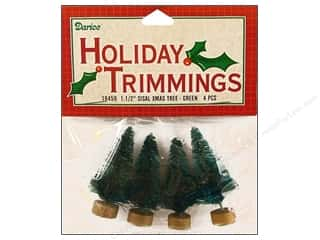 Darice Holiday Decor Sisal Tree 1.5&quot; Green 4pc