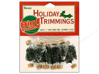 Darice Sisal Tree 1 in. Green with Frost 12 pc.