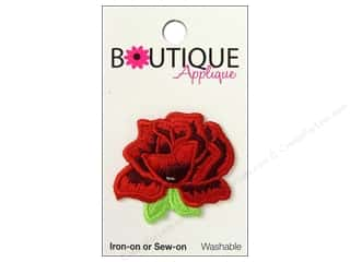 Blumenthal Embroidered Appliques: Blumenthal Boutique Applique 1 1/2 in. Red Rose
