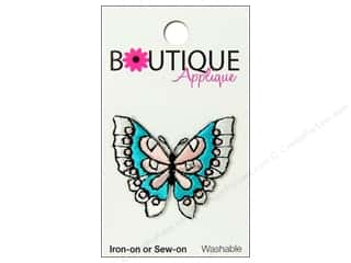 Blumenthal Embroidered Appliques: Blumenthal Boutique Applique 1 1/2 in. Blue & Pink Butterfly