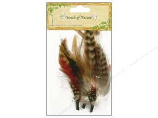 "Feathers Basic Components: Midwest Design Feather Pick 3-7"" Yellow/Red/Brown 3pc"