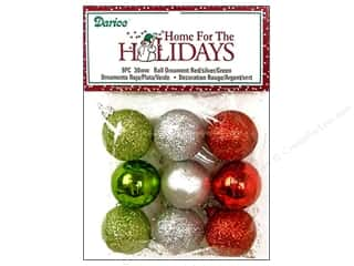 Darice Holiday Decor Ornm Ball 30mm Rd/Slr/Gn 9pc