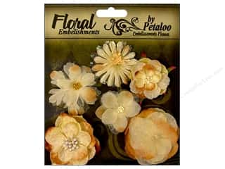 Flowers / Blossoms Brown: Petaloo FloraDoodles Chantilly Mixed Blooms Cream