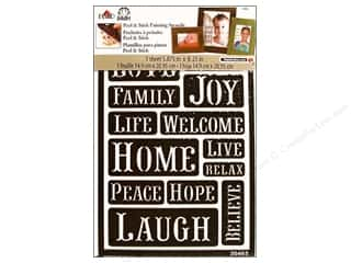 Captions Clearance: Plaid Stencil FolkArt Peel & Stick Happy Words