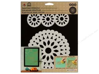 Plaid Stencil Folkart Painting Circle Medallion 2pc