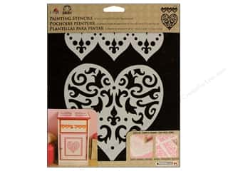 Plaid Stencil Folkart Painting Filigre Heart 2pc