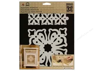 Plaid Stencil Folkart Painting Antque Trivet 2pc