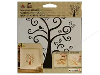 Stenciling Craft Paint: Plaid Stencil FolkArt Painting Curly Tree