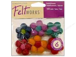 Felt Shapes: Dimensions Feltworks 100% Wool Felt Embellishment Mini Ball Flower