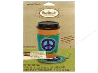 Appliques Craft & Hobbies: Dimensions Applique Kit Felt Coaster/Cozy Peace Sign
