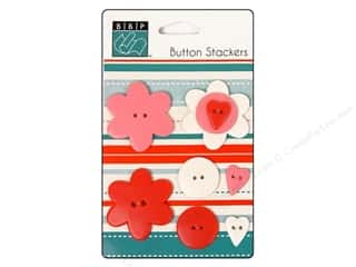 Bazzill Buttons Stackers Heart 9pc