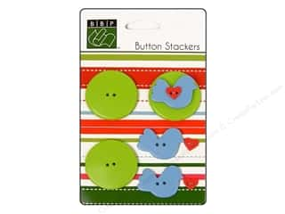Bazzill Blue: Bazzill Buttons Stackers 9 pc. Bird