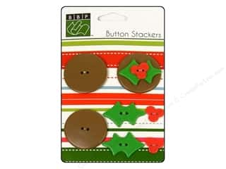 Bazzill Buttons: Bazzill Buttons Stackers Holly 9pc