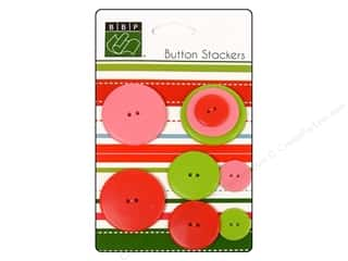 Bazzill: Bazzill Buttons Stackers 9 pc. Christmas Circle
