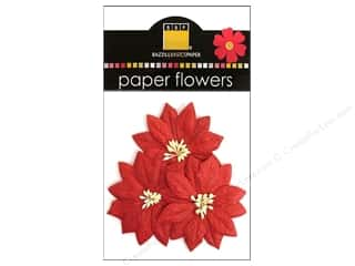 Scrapbooking &amp; Paper Crafts  Flowers / Blossoms: Bazzill Flowers Paper Poinsettias 3pc