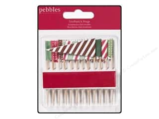 Pebbles Embellishment Welcome Christmas Toothpick Flag