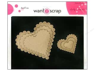 Chipboard Hearts: Want2Scrap Nestaboard Spellbinders Heart Scallop