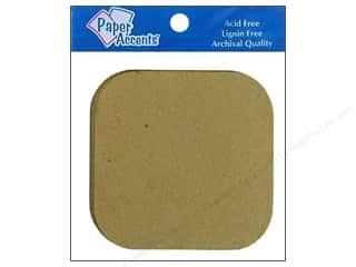 Paper Accents: Paper Accents Chipboard Shape Square with Round Corner 8 pc. Kraft
