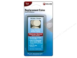 Velcro Removable Replacement Coin 1/4 lb White 36pc
