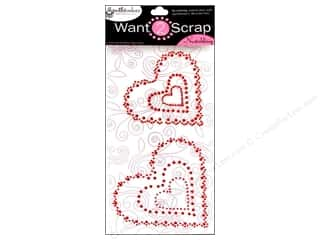 Want2Scrap Sticker Spellbinders Heart Scallop Red