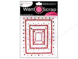 Want 2 Scrap Theme Stickers / Collection Stickers: Want2Scrap Sticker Spellbinders Rectangular Fleur Red/Silver