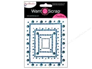 Want 2 Scrap Theme Stickers / Collection Stickers: Want2Scrap Sticker Spellbinders Rectangular Fleur Turquoise