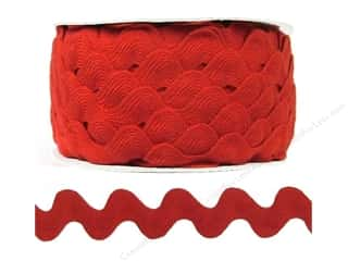 Ribbon Work Ribbons / Fabrics / Threads / Cords: Ric Rac by Cheep Trims  1 in. Red (24 yards)