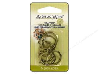 Clearance Blumenthal Favorite Findings: Artistic Wire Wrappers 20mm Round Antique Brass 6pc.