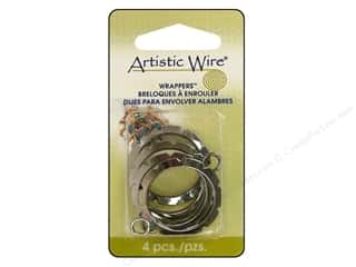 Clearance Blumenthal Favorite Findings: Artistic Wire Wrappers 28 mm Round Hematite 4 pc.