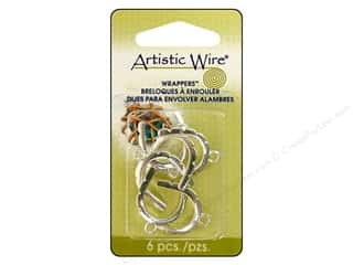 Artistic Wire Wrappers 17 x 22 mm Curved Silver Plate 6pc.
