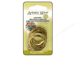Charms and Pendants Artistic Wire™: Artistic Wire Wrappers 28 mm Round Antique Brass 4 pc.